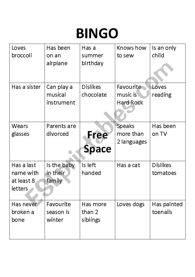 BINGO for getting to know you adults