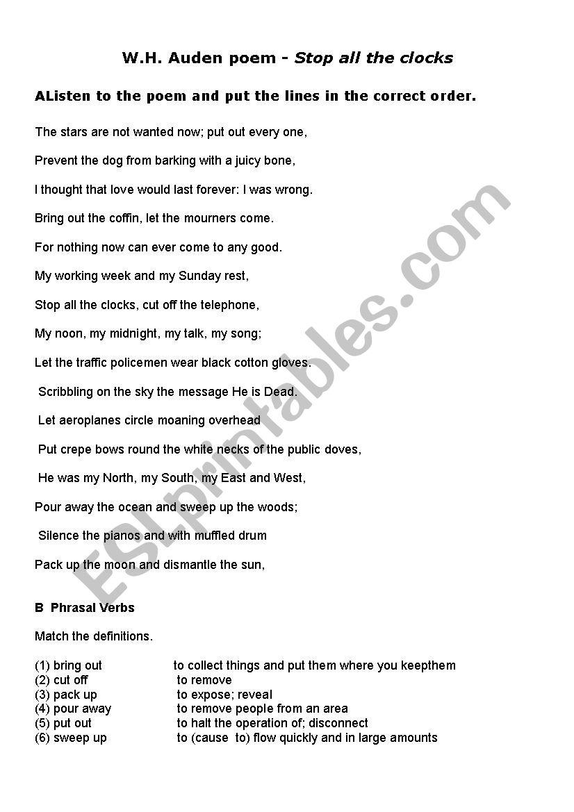 W H Auden poem worksheet