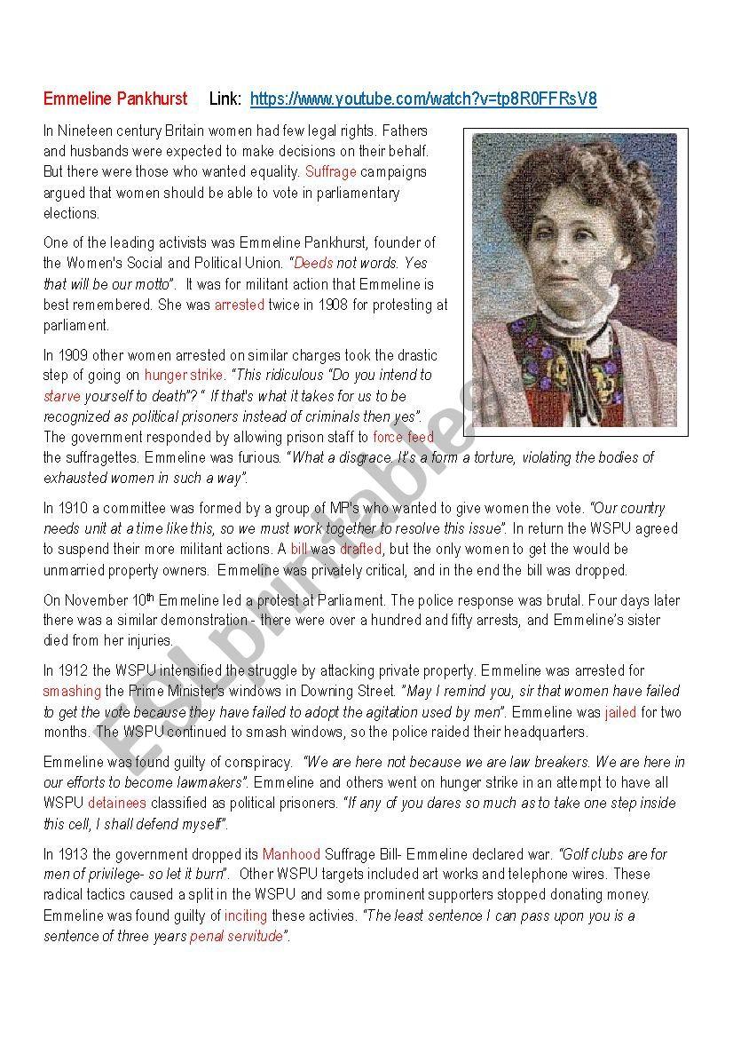 Emmeline Pankhurst Biography worksheet