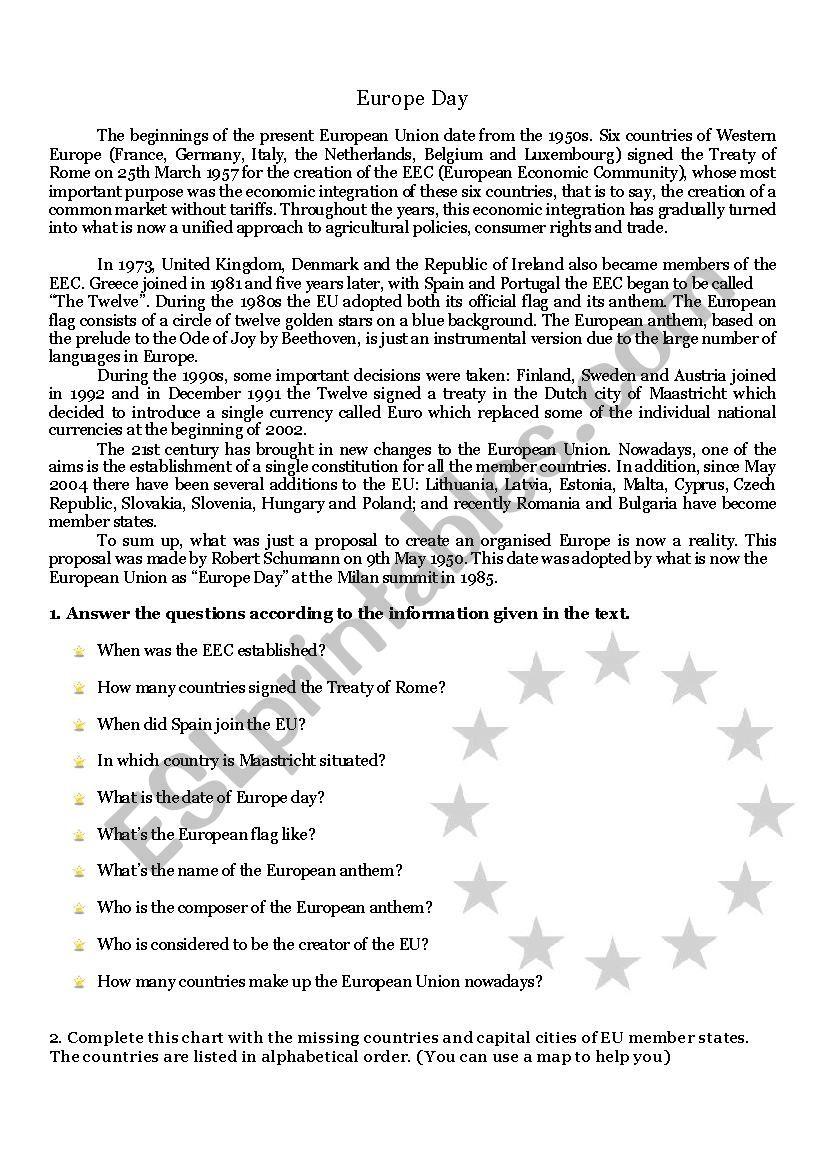 Europe Day worksheet