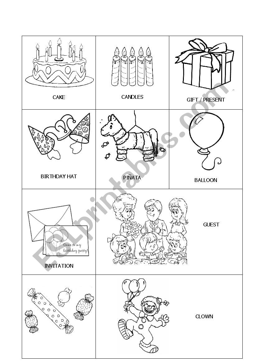 birthday party vocabulary esl worksheet by marulomoro. Black Bedroom Furniture Sets. Home Design Ideas