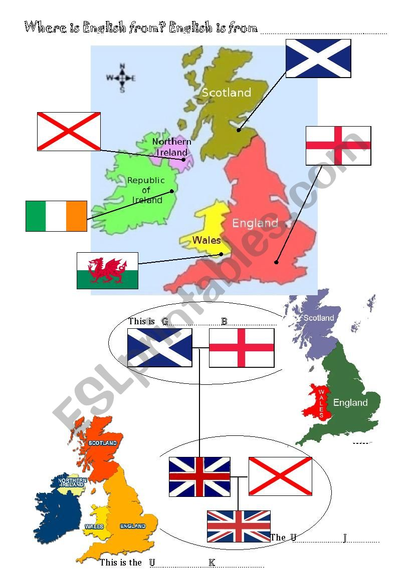 The British Isles Flags And Countries Esl Worksheet By Msricard