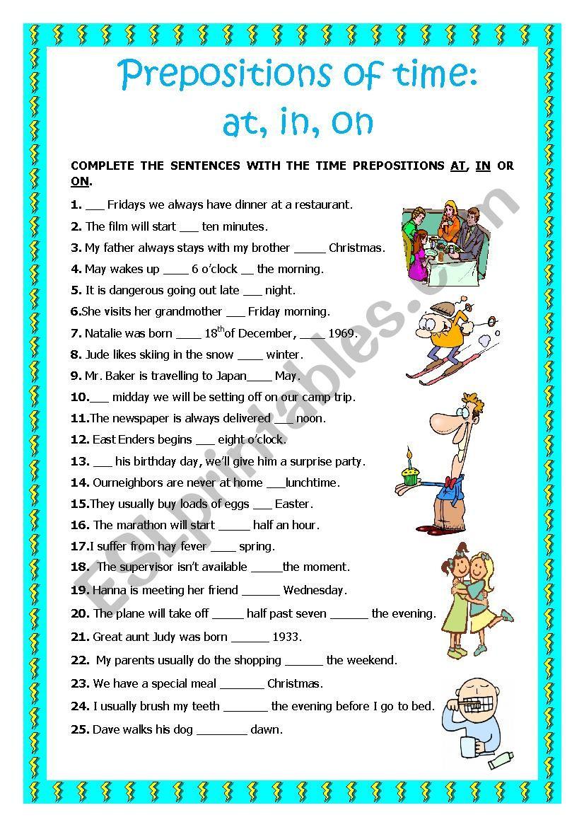 Prepositions of Time 2 worksheet