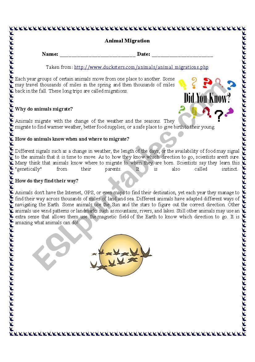 animal migration reading comprehension esl worksheet by vanedeakin84. Black Bedroom Furniture Sets. Home Design Ideas