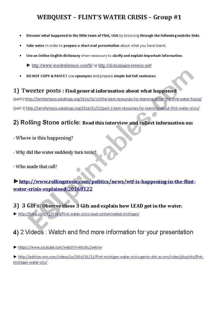 Flint Water Crisis Webquest Part 1 Esl Worksheet By Frankzerbib