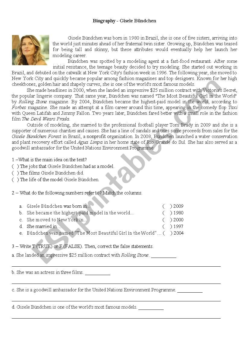 Biography worksheet