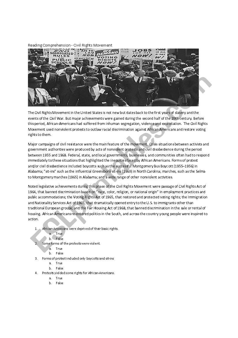 Civil rights movement worksheet