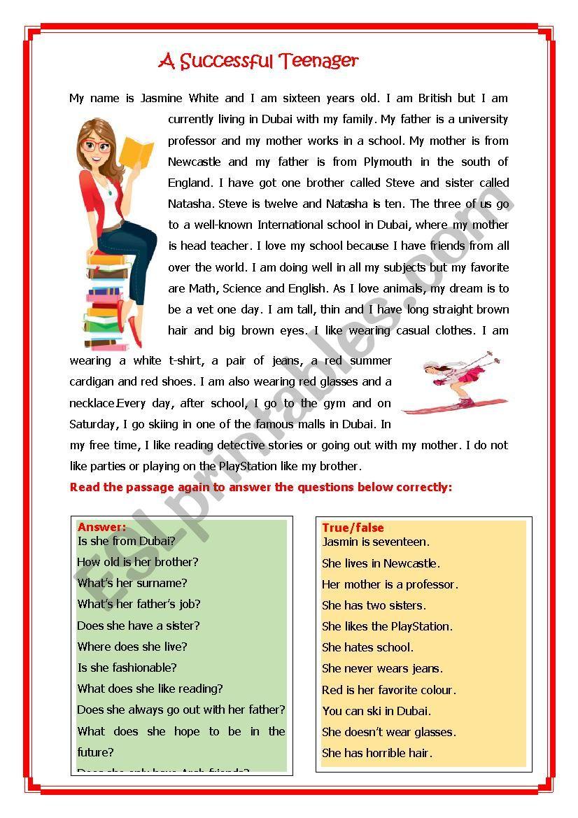 A Successful Teenager worksheet
