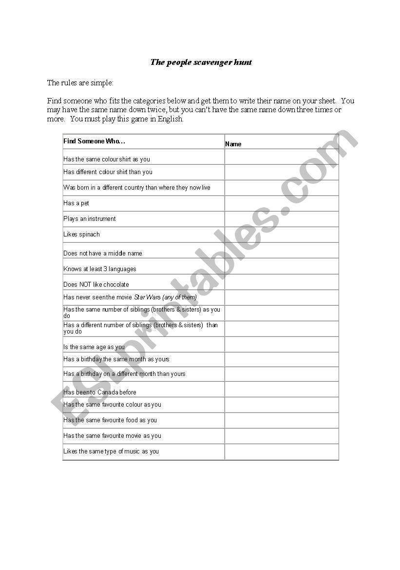 Worksheets Ice Breaker Worksheets fun vocabulary icebreaker esl worksheet by heathera worksheet