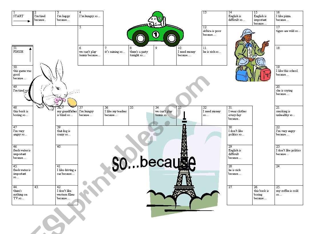 So   because (game) - ESL worksheet by Sulistya
