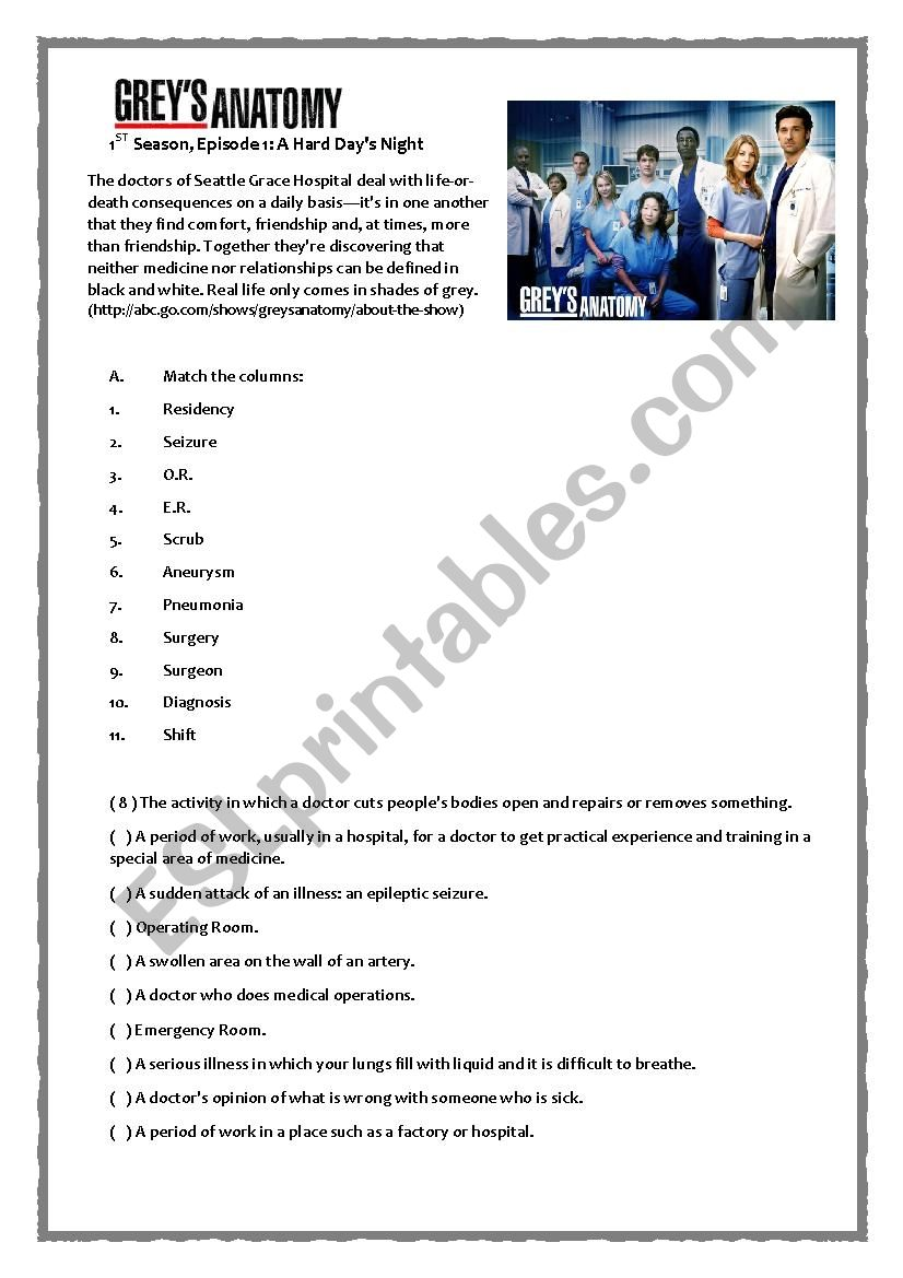 Grey´s Anatomy Pilot - ESL worksheet by fevilar