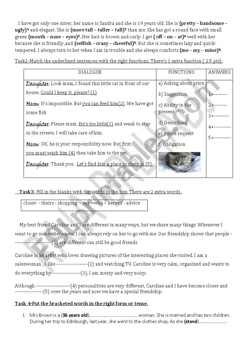 Revision papers Grade 8 Tunisian students - ESL worksheet by wafakharrat