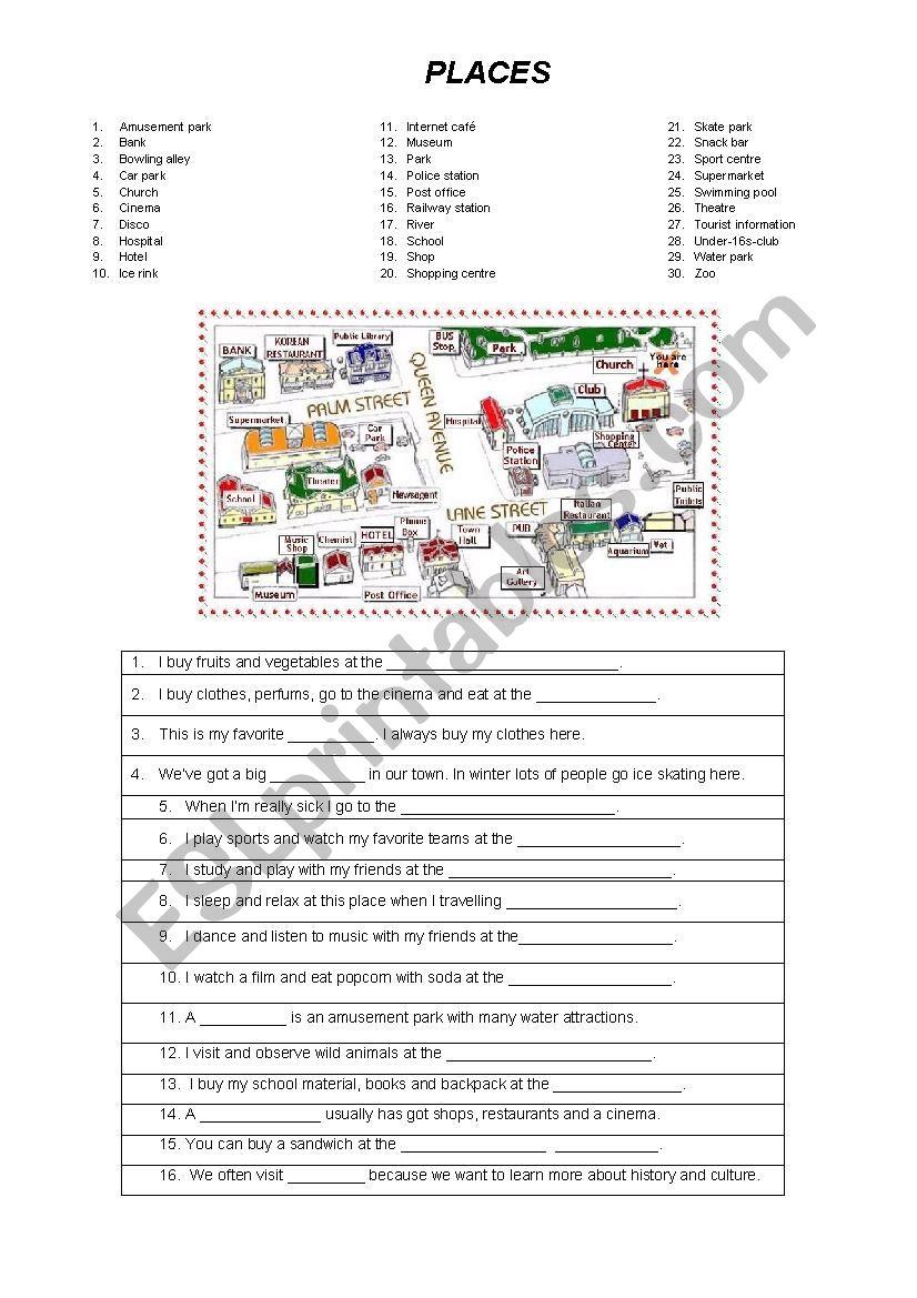 Places worksheet
