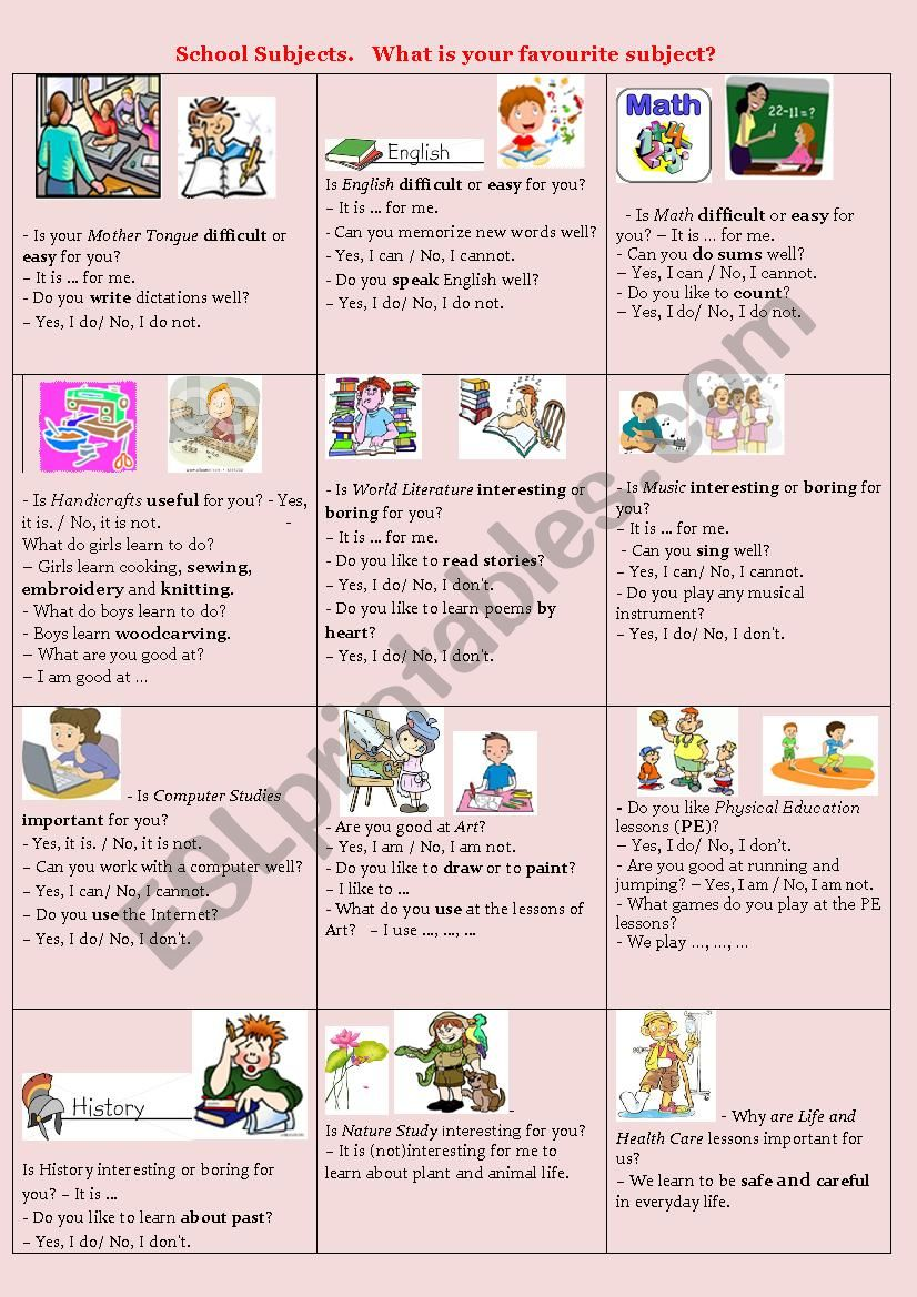 School Subjects  - ESL worksheet by olena linchuk