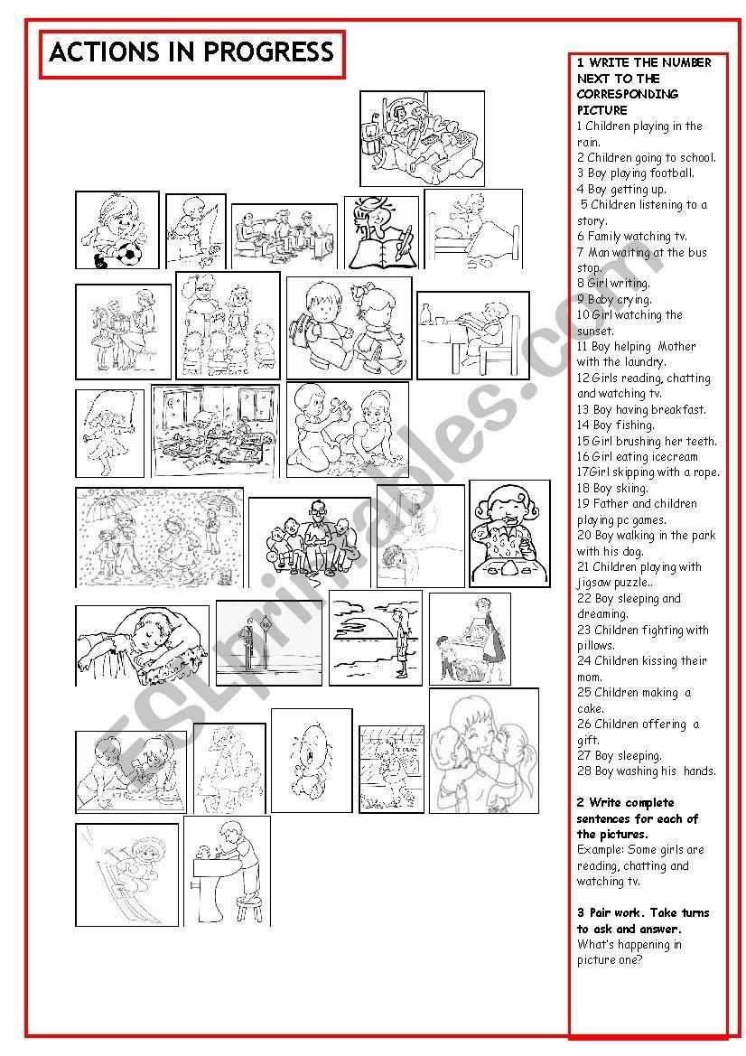 Actions in progress worksheet