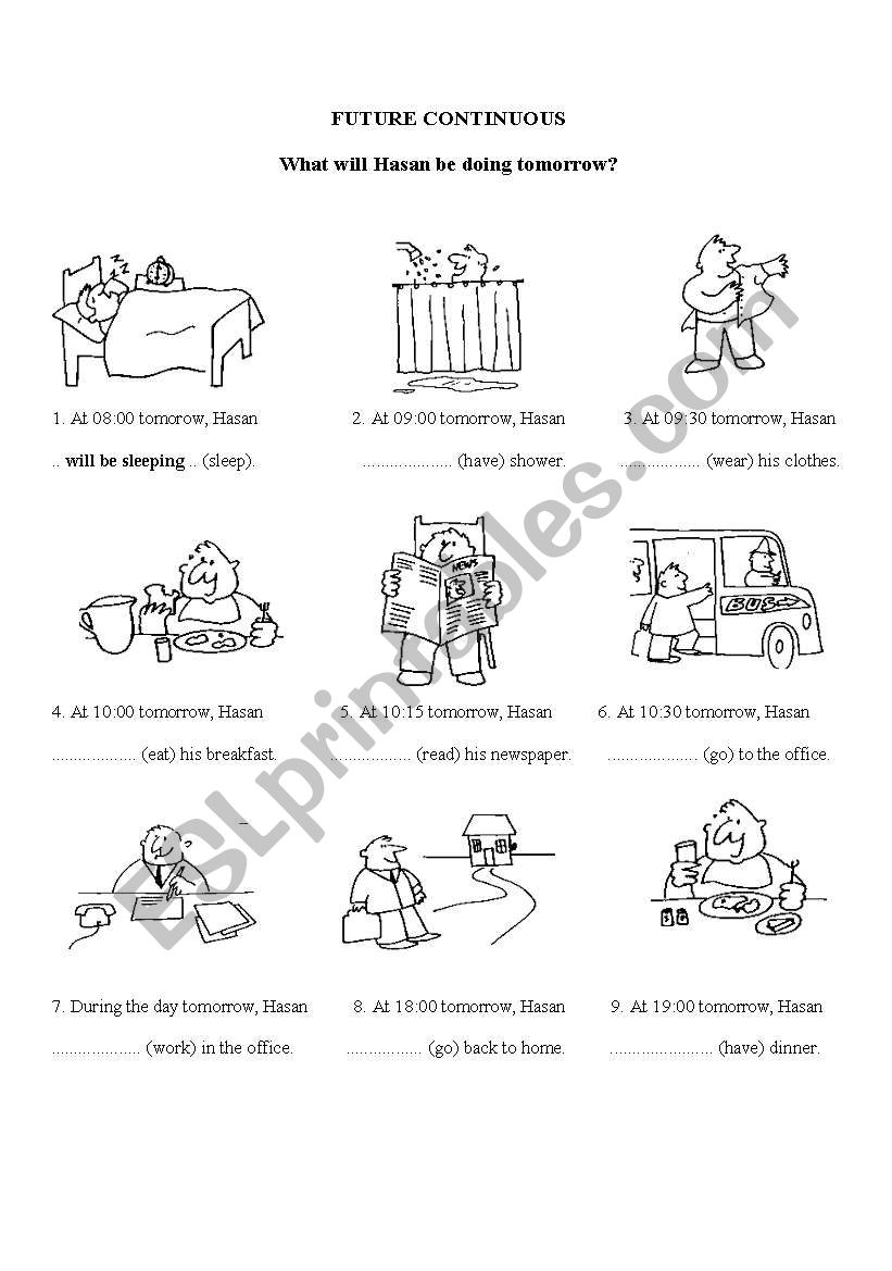 future continuos worksheet with daily activities