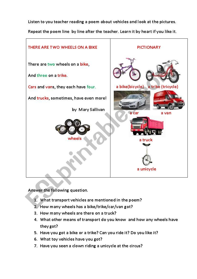 THERE ARE TWO WHEELS (a poem) worksheet