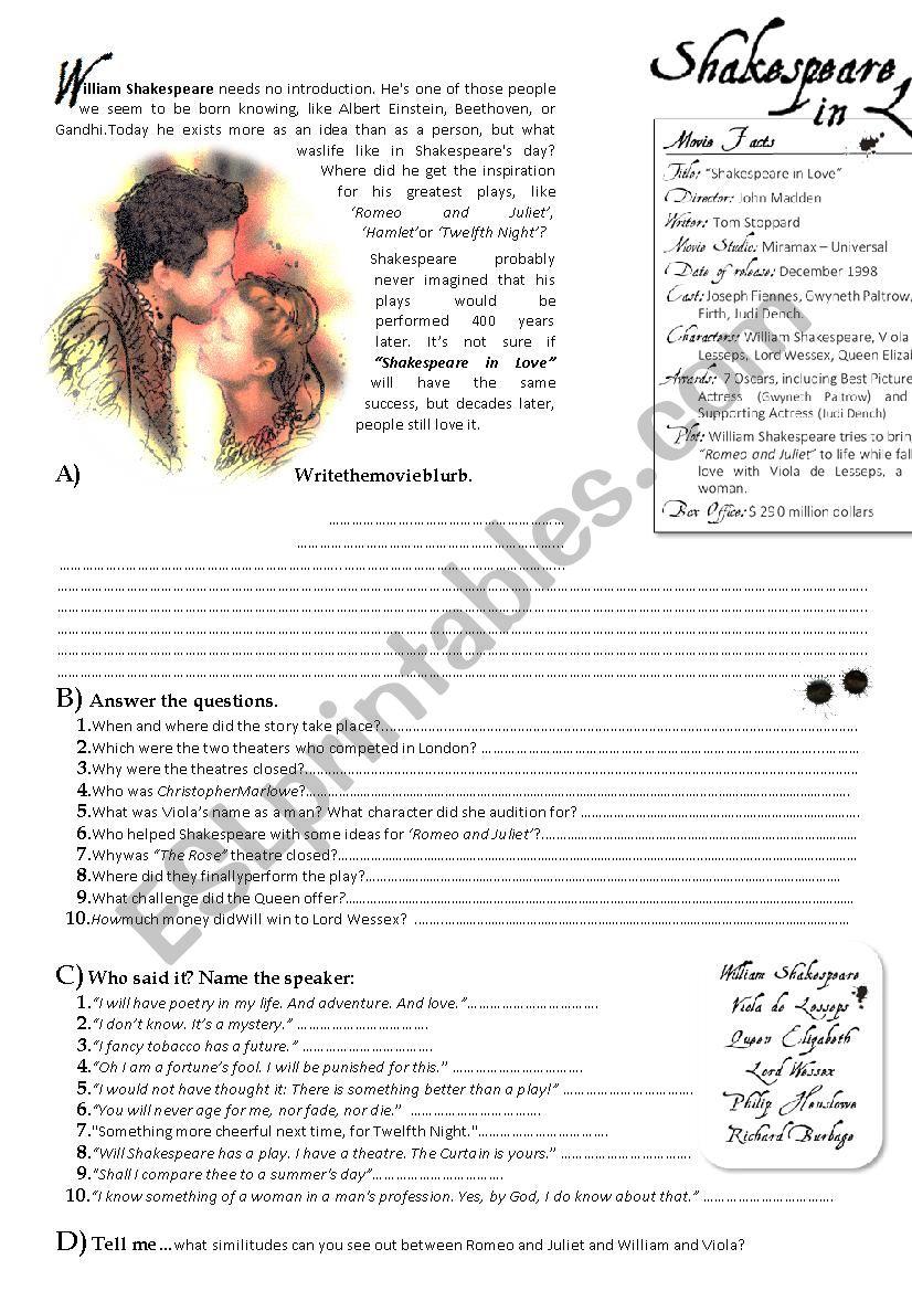 Shakespeare in Love worksheet