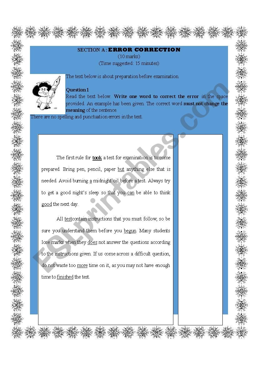 ERROR CORRECTION worksheet