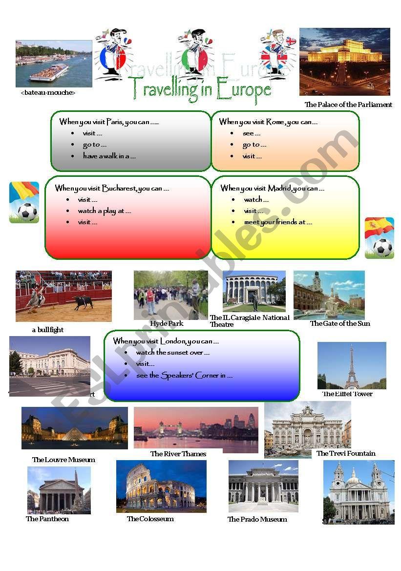 TRAVELLING IN EUROPE worksheet
