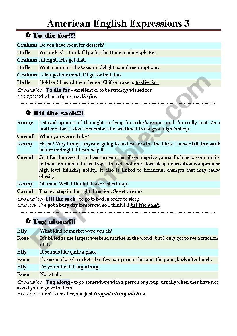 American English Expression 3 worksheet