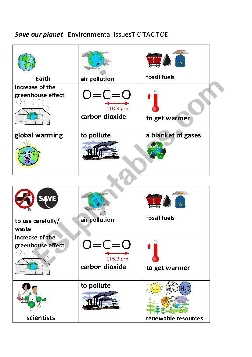 Environmental issues Tic Tac Toe