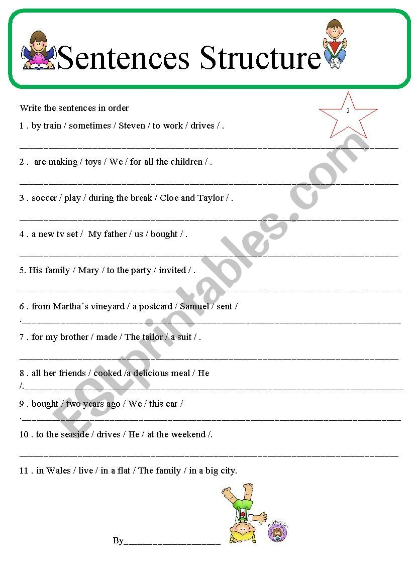Sentence Structure 2 worksheet