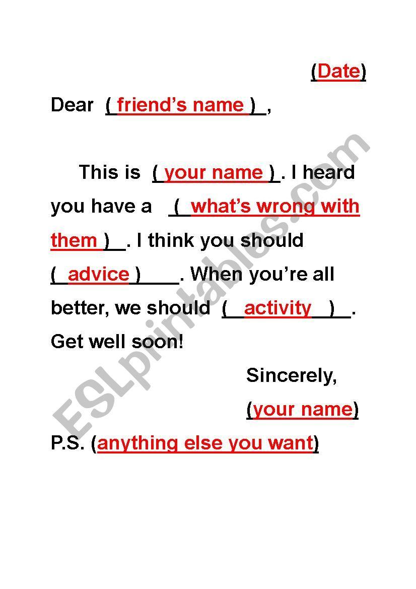 Get Well Soon Card Template Esl Worksheet By Crystalhwang