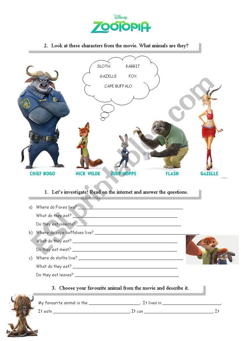 Zootopia - ESL worksheet by allweare