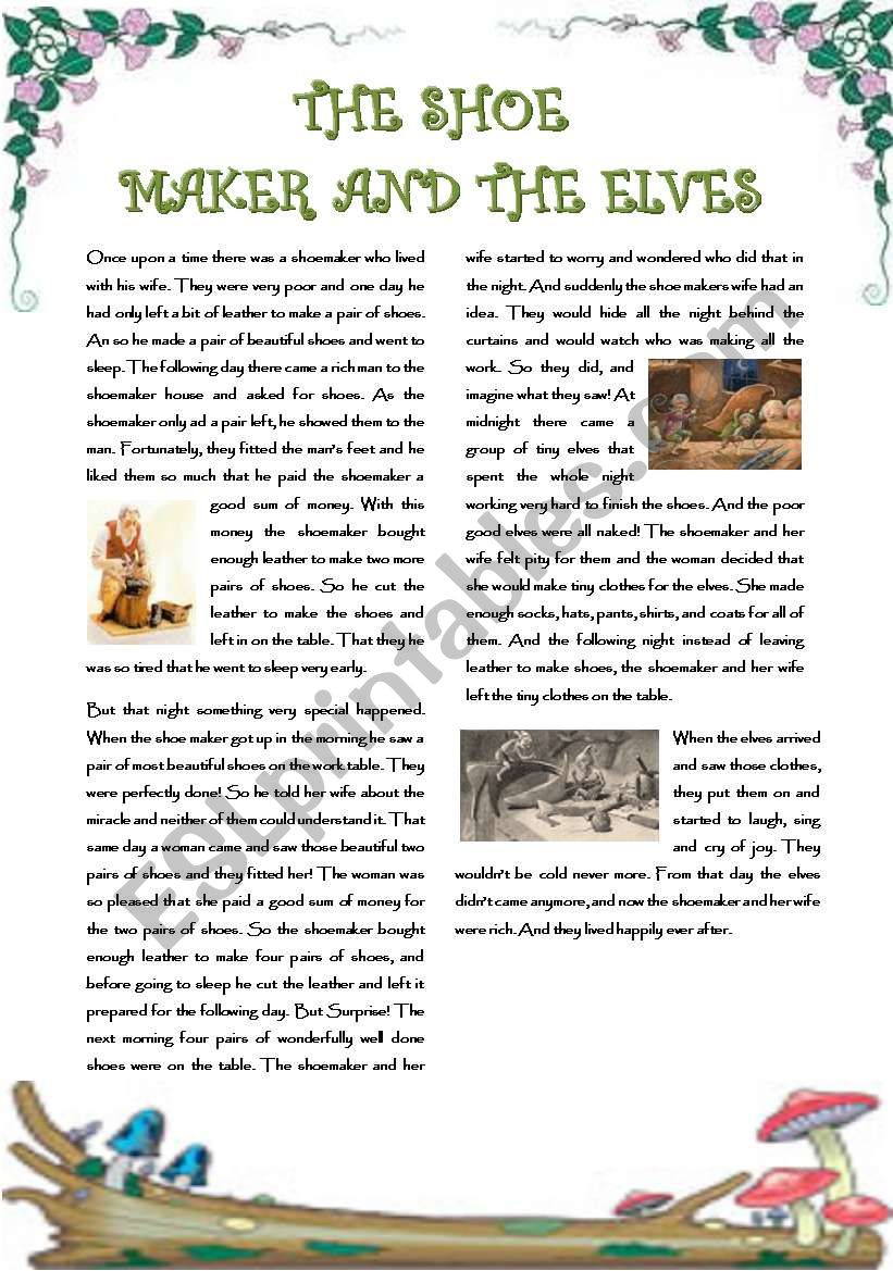 image about Printable Fairy Tales Pdf referred to as Fairy stories: The shoemaker and the elves (Adpated for ESL