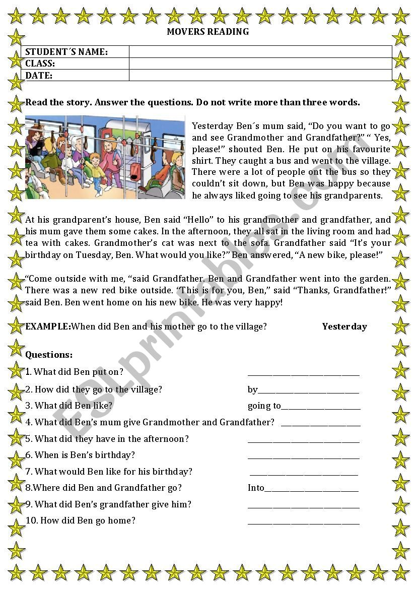 MOVERS READING worksheet