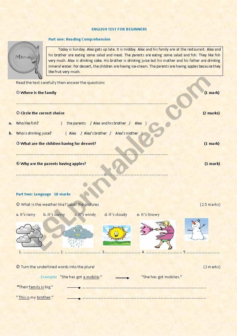 ENGLISH TEST FOR BEGINNERS worksheet