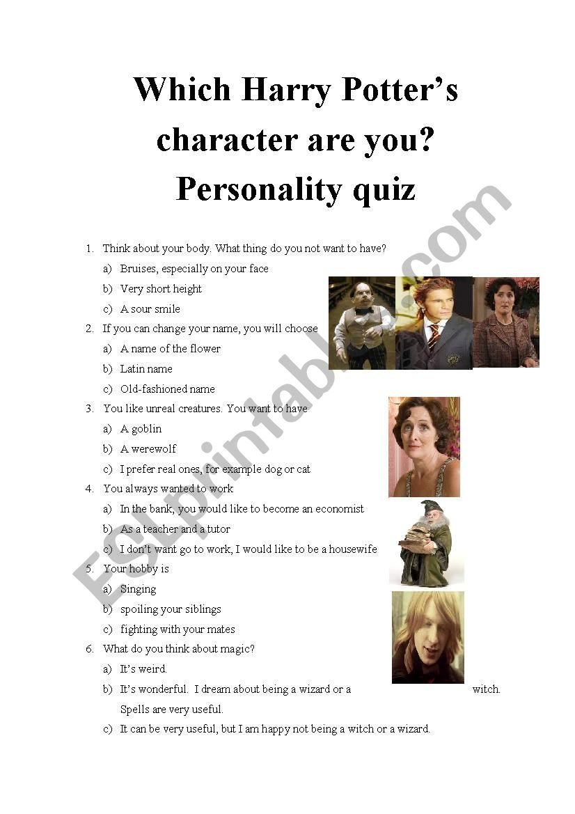 Which Harry Potter's character are you? Personality quiz 12