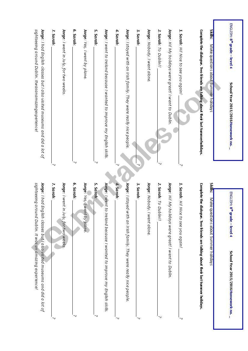 Summer holidays - dialogue worksheet