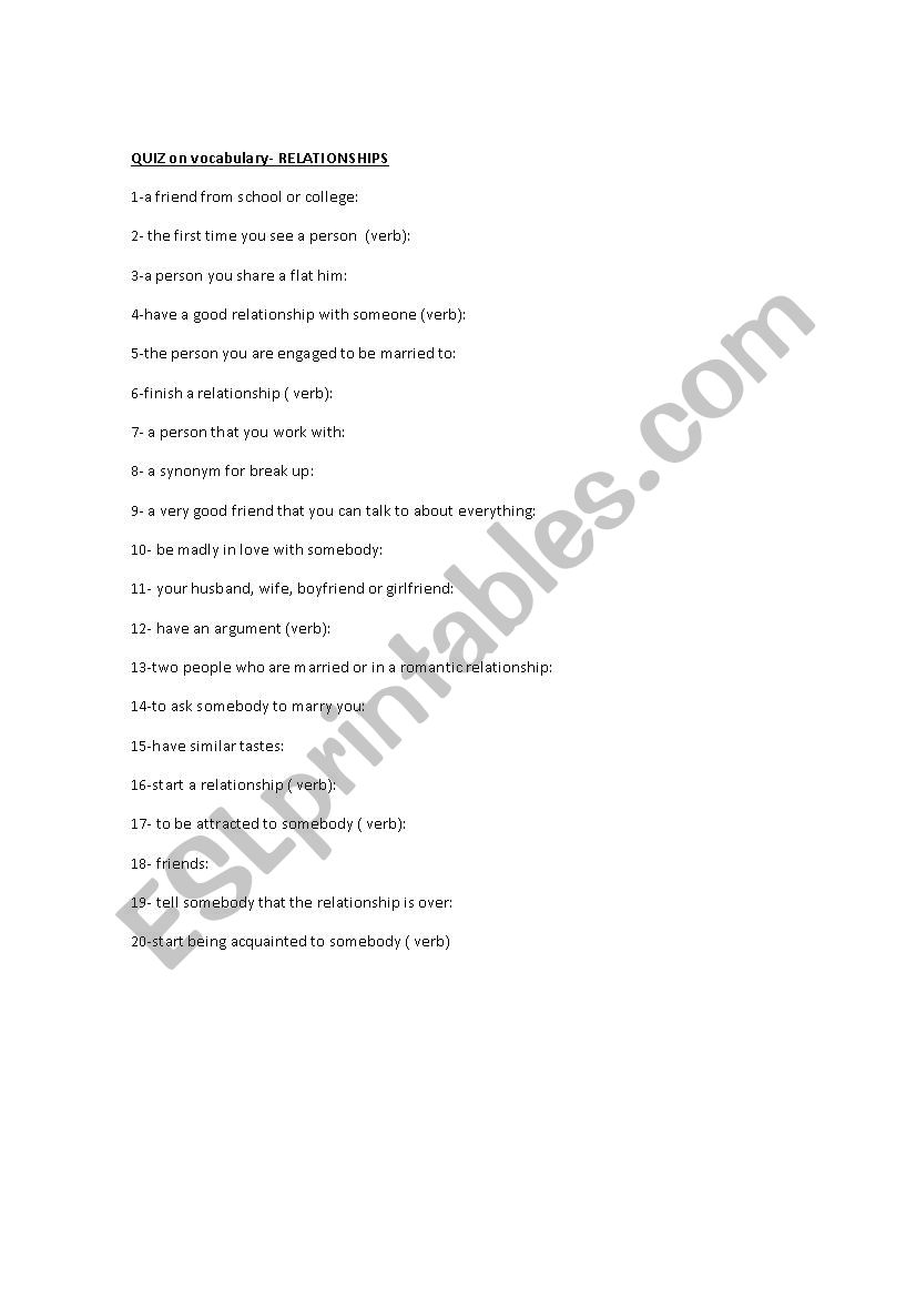 picture regarding Healthy Relationship Quiz Printable named connection quiz - ESL worksheet by way of papega