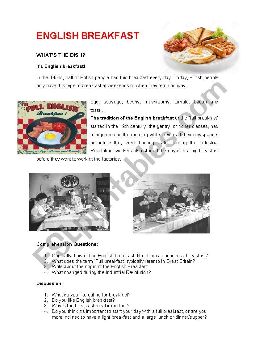 The English Breakfast worksheet