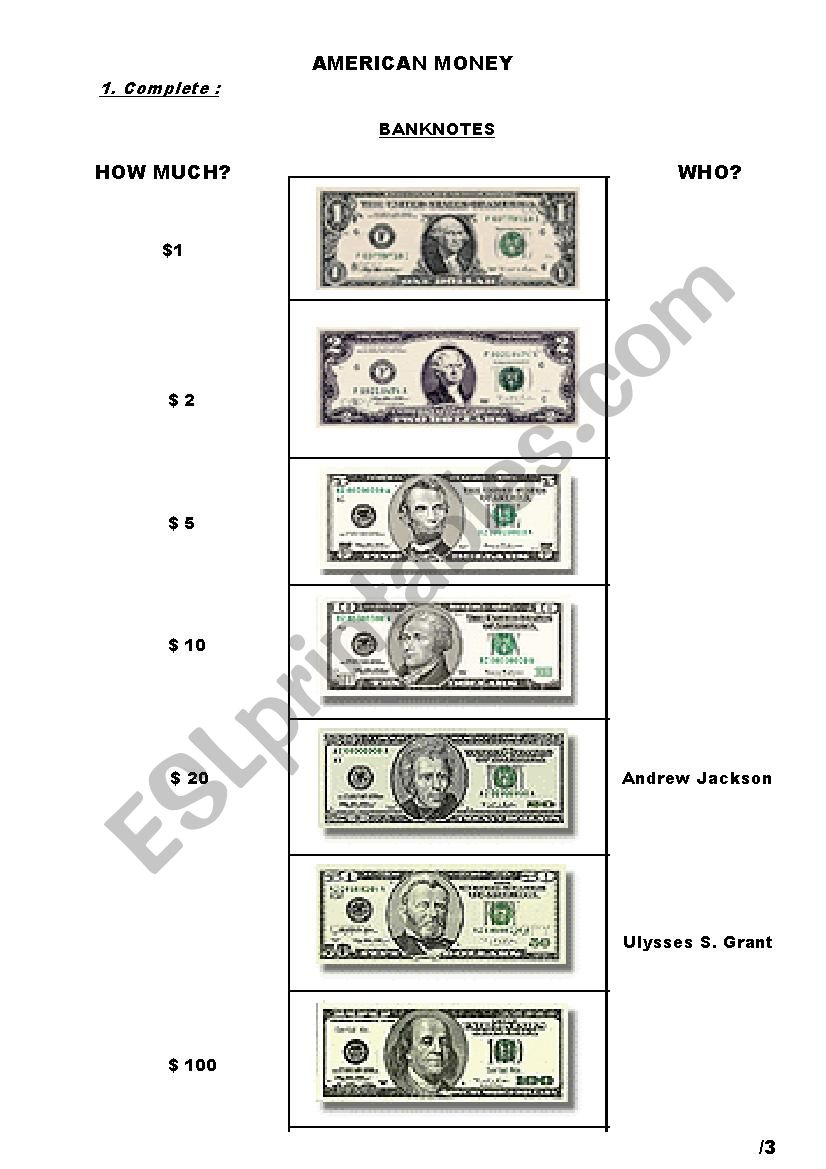 American money test worksheet