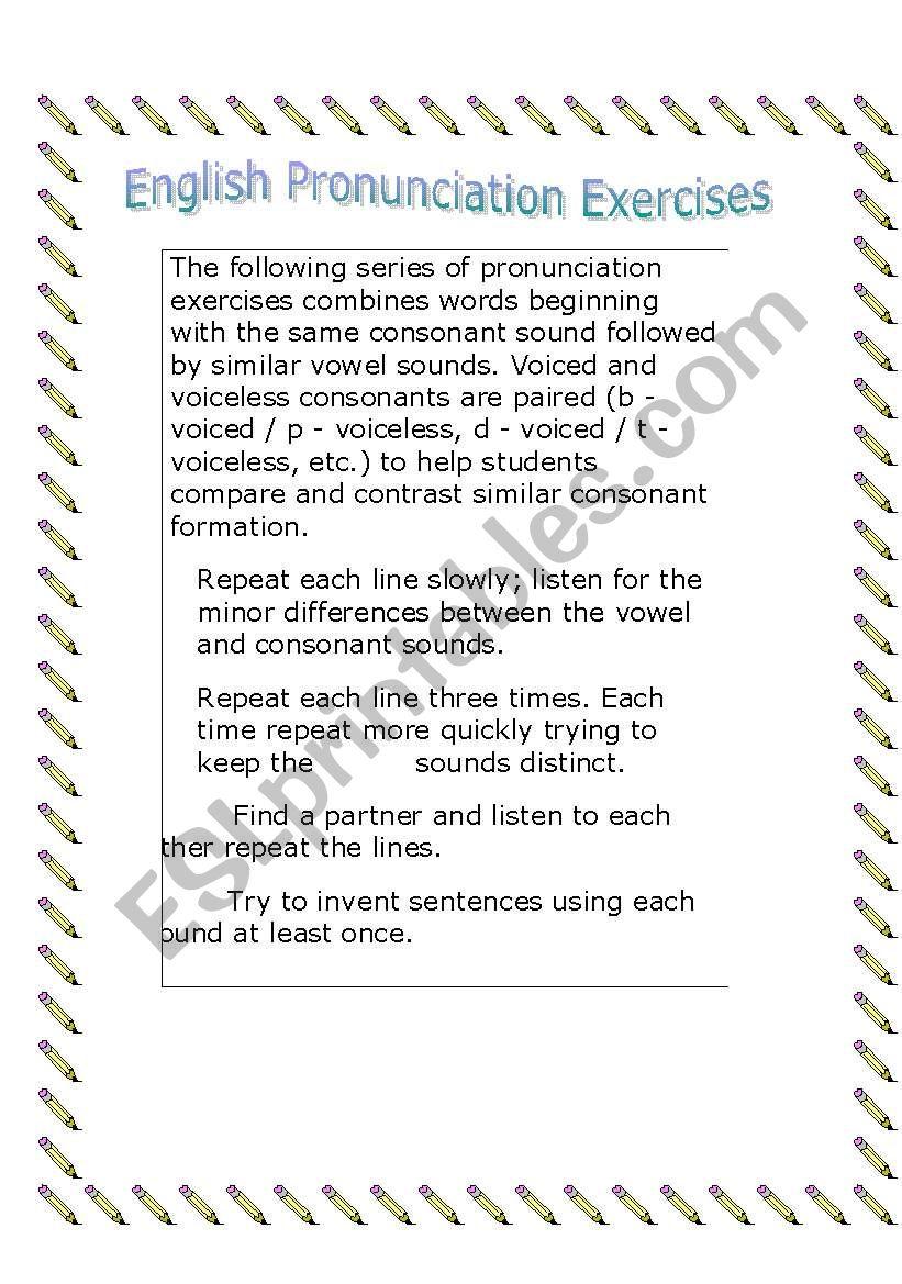 English Pronunciation - ESL worksheet by Nájilla