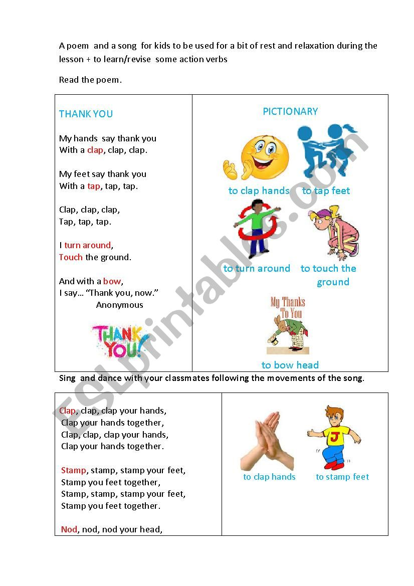 THANK YOU (a poem and a song) worksheet
