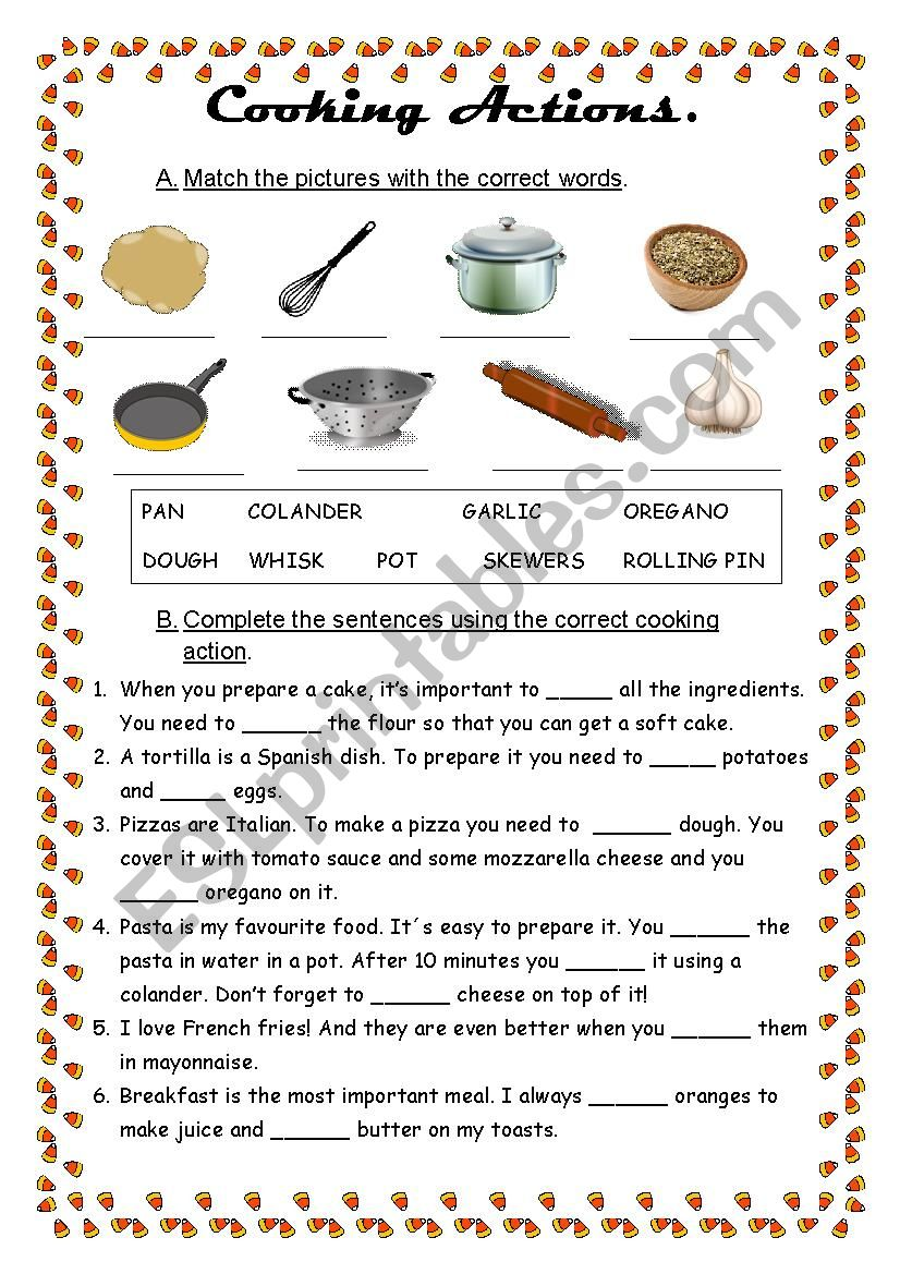 Cooking actions worksheet