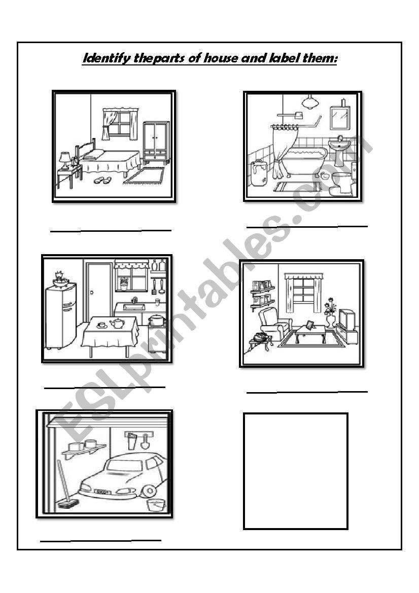 House Rooms Worksheet: ESL Worksheet By YousraASR
