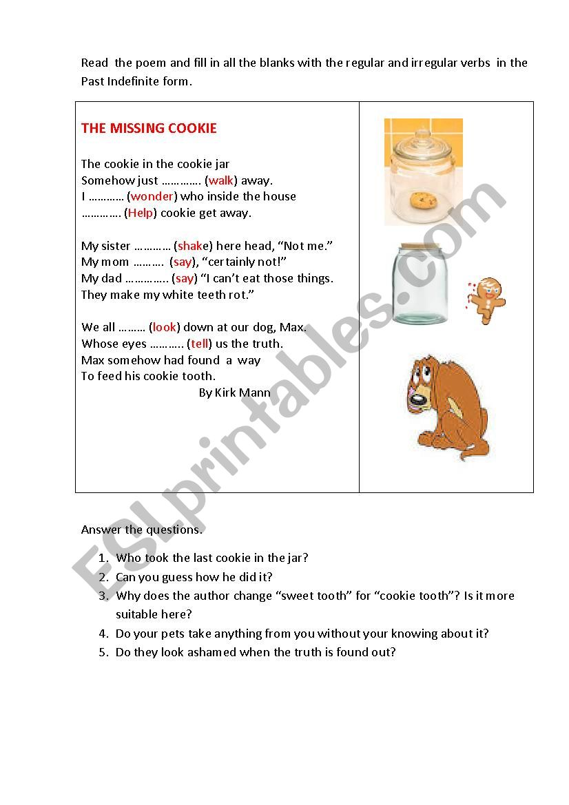 THE MISSING COOKIE ( a poem) worksheet