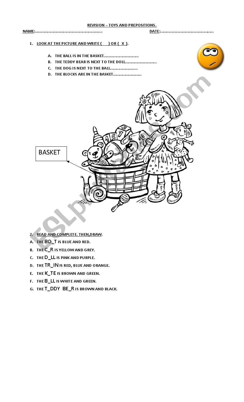 TOYS AND PREPOSITIONS worksheet