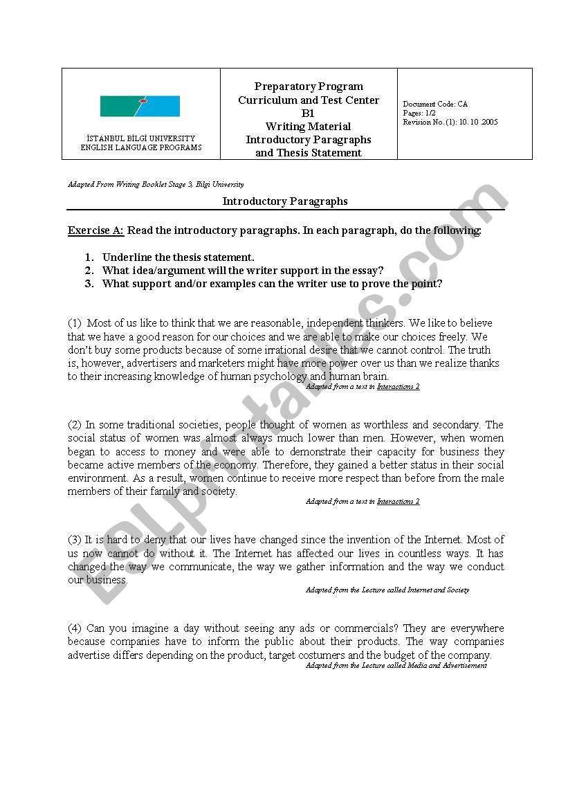 Introduction Paragraphs Esl Worksheet By Sblock629
