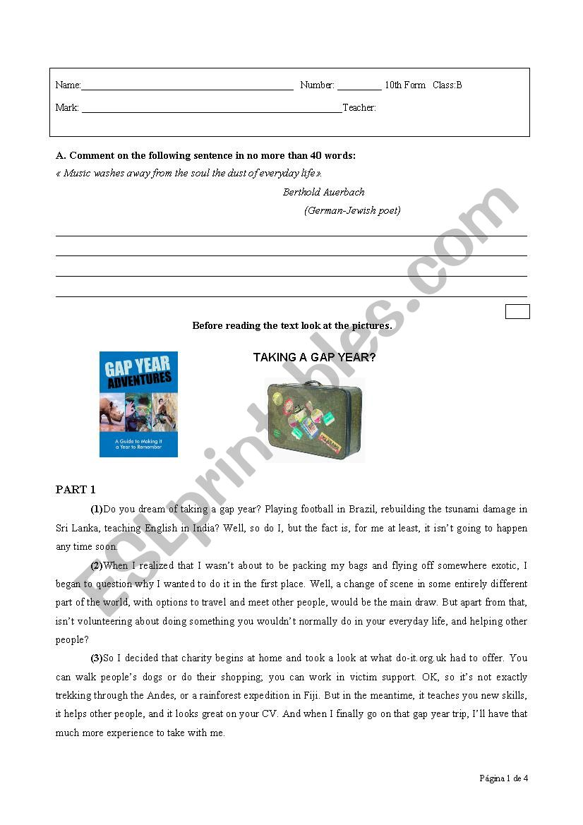 Test about the topic Gap Year worksheet