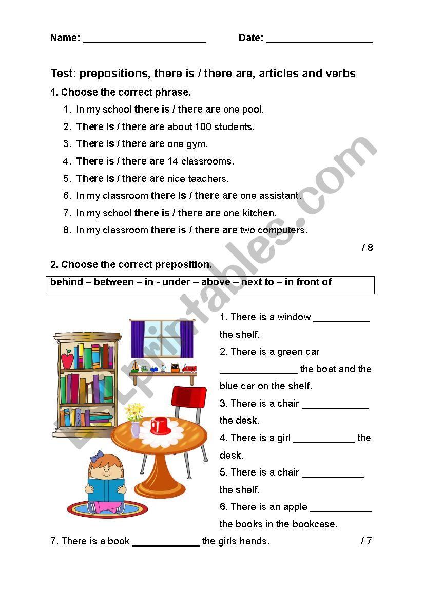Test for elementary pupils worksheet