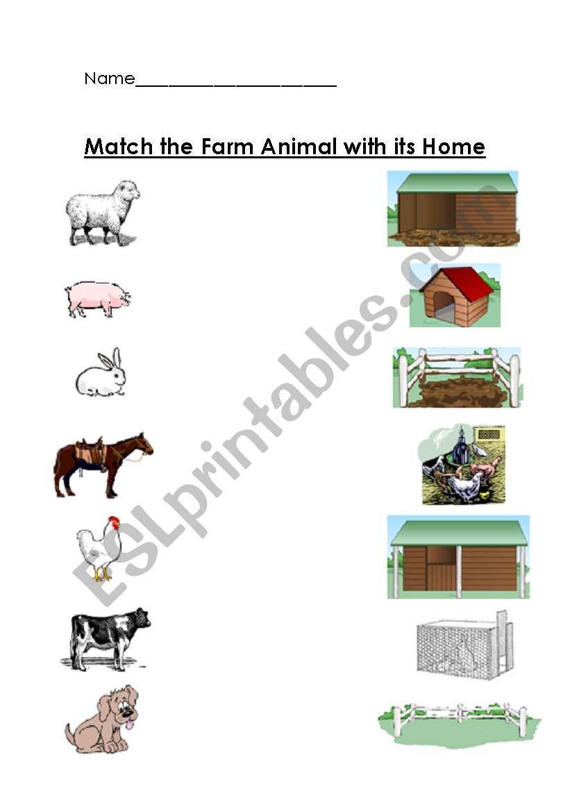 farm animals and their home matching worksheet esl worksheet by teacher2009. Black Bedroom Furniture Sets. Home Design Ideas