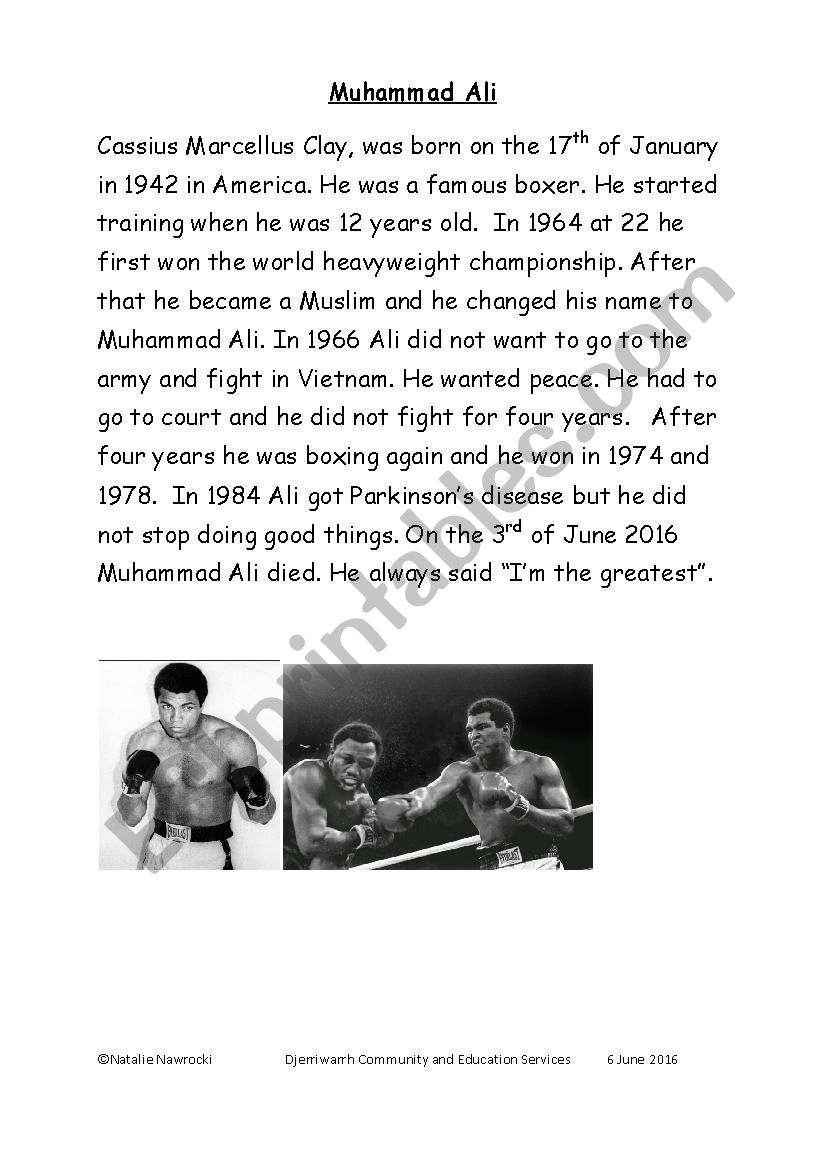 Muhhamad Ali worksheet