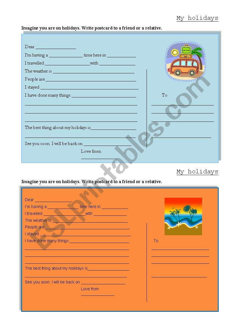 My holidays- postcard writing worksheet