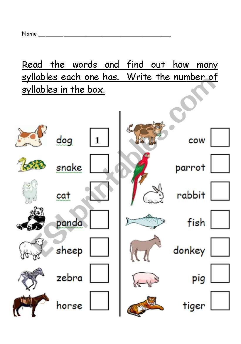 phonological awareness number of syllables worksheet animal theme esl worksheet by teacher2009. Black Bedroom Furniture Sets. Home Design Ideas